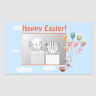 Happy Easter Bunny and Balloons (photo frame) Rectangular Sticker