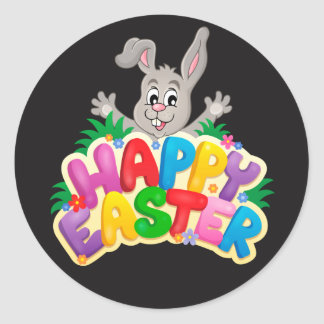 Happy Easter Bunny and text Round Sticker