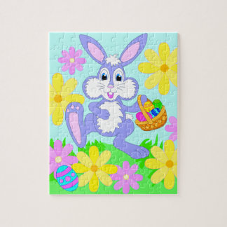 Happy Easter Bunny Cute Cartoon Rabbit Flowers Jigsaw Puzzle