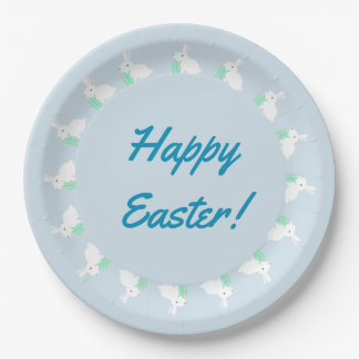 Happy Easter Bunny Rabbit Paper Plates 9 Inch Paper Plate