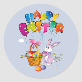Happy Easter Bunny with basket Round Sticker