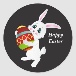 Happy Easter Bunny with decorated egg Round Sticker
