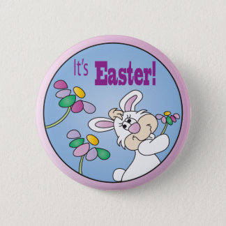 Happy Easter Bunny with Flowers 6 Cm Round Badge