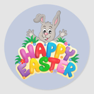 Happy Easter Bunny with text Round Sticker