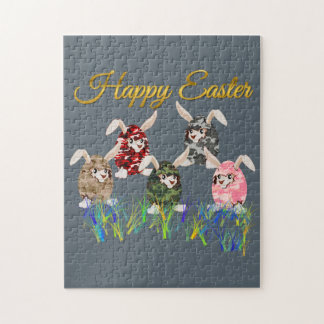 Happy Easter Camouflage Chocolate Bunny Egg Hunt Jigsaw Puzzle