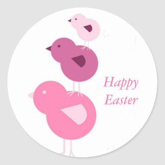 Happy Easter Chickens Round Sticker