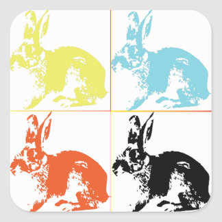 Happy Easter Cute Bunnies Gift Wrapping Square Sticker