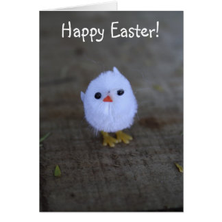 Happy Easter Cute White Chicken Card