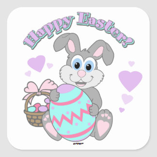 Happy Easter! Easter Bunny Square Sticker