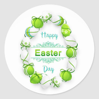 Happy Easter - Egg Wreath/Ribbons Round Sticker