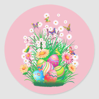 Happy Easter Eggs and Floral design Round Sticker