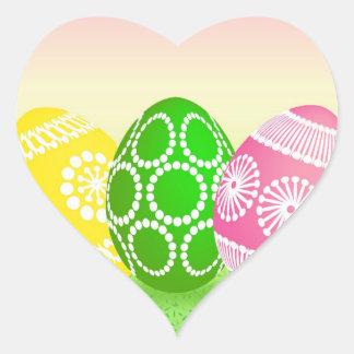 Happy Easter Eggs Heart Sticker