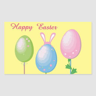 Happy Easter Eggs Rectangular Sticker