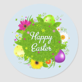 Happy Easter floral and text background Round Sticker