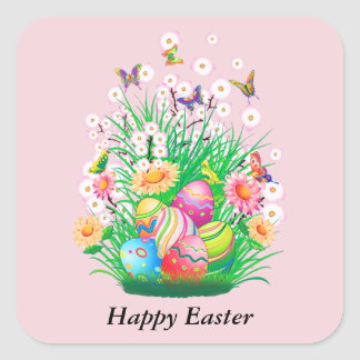 Happy Easter floral and text background Square Sticker