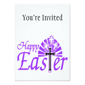 Happy Easter Flowers & Cross 5x7 Paper Invitation Card