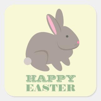 Happy Easter - Gray Rabbit Square Sticker