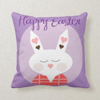 Happy Easter Hearts Bunny Cushion