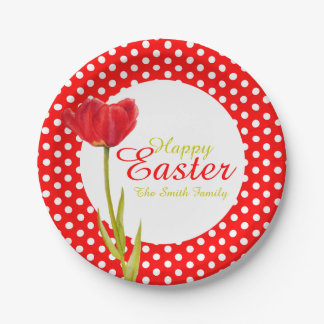 Happy Easter holidays red party paper plate 7 Inch Paper Plate