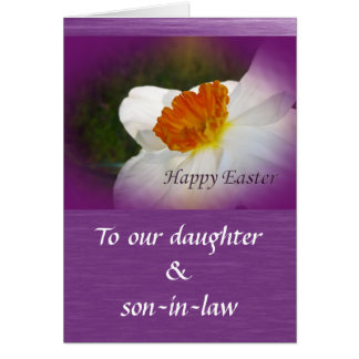 Son and daughter in law easter gifts t shirts art posters happy easter narcissus daughter son in law card negle Image collections