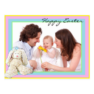 Happy Easter Pastel Custom Family Photo Postcard