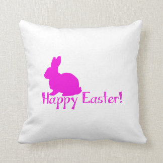 Happy Easter Pink Bunny Throw Pillow