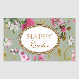 Happy Easter Pink Flowers Rectangular Sticker