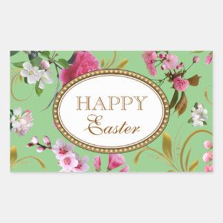 Happy Easter Pink Flowers Rectangular Sticker