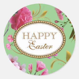 Happy Easter Pink Flowers Round Sticker