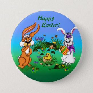 Happy Easter! Rabbit with Bunny and Chick 7.5 Cm Round Badge