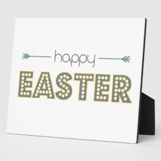 happy easter spring yellow mint green simple plaque
