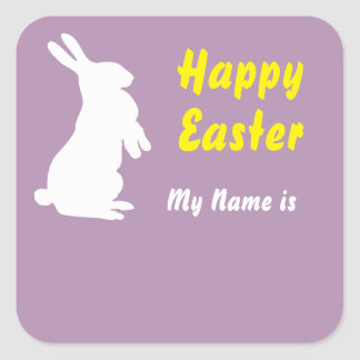 Happy Easter Square Name Tag Square Sticker
