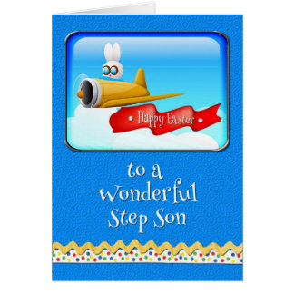 Happy Easter Step Son Bunny in Plane Card