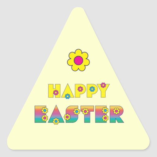Happy Easter Triangle Stickers