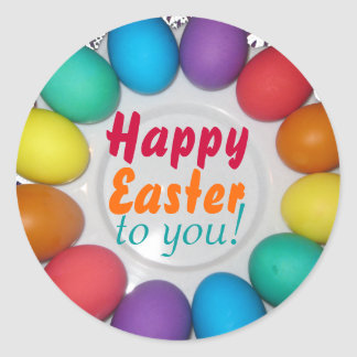 Happy Easter to you Rainbow Easter Round Sticker