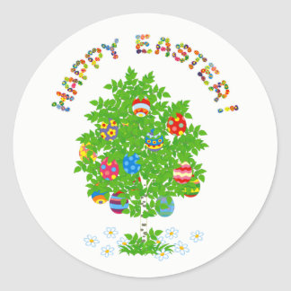 Happy easter tree with decorative eggs round sticker