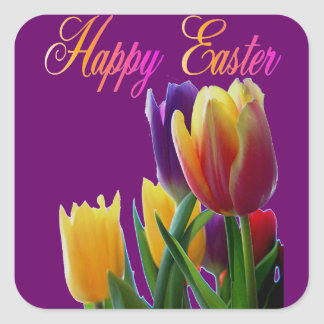 Happy Easter Tulips Square Sticker