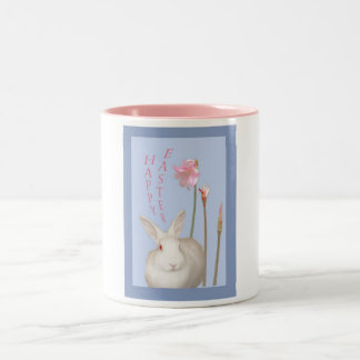 Happy Easter, White rabbit and Easter lillies Two-Tone Coffee Mug