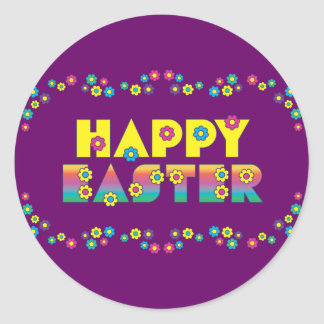 Happy Easter with Flowers Round Sticker