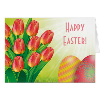 Happy Easter with Tulips and Easter Eggs Card