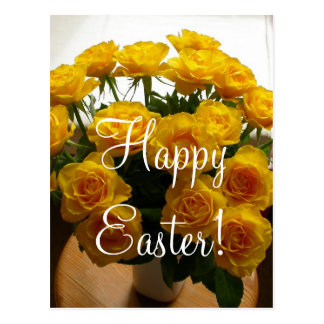 Happy Easter Yellow Rose Post Card