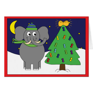 Happy elephant holiday card with envelope