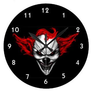 Happy Evil Clown Red Hair Large Clock