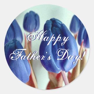 Happy Father's Day Blue Tulips Round Sticker