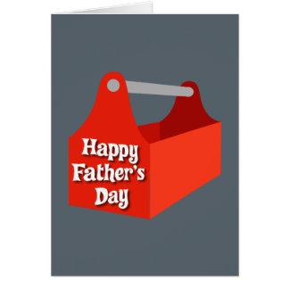 Happy Father's Day Red and Grey Tool Box Greeting Card