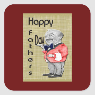 Happy Father's Day Waiter Square Sticker
