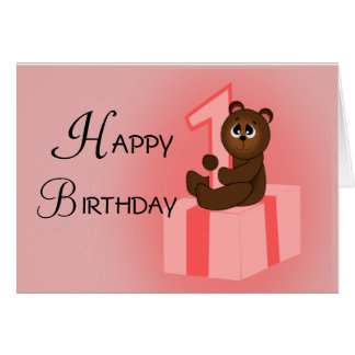 Happy First Birthday Bear Card