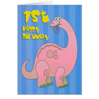 Happy First Birthday Pink Dinosaur Card