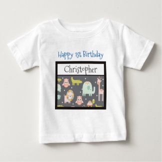 Happy First Birthday Safari Animals Pattern Baby T-Shirt