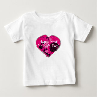 """Happy First Mother's Day"" - Pink Sunflowers/Heart Baby T-Shirt"
